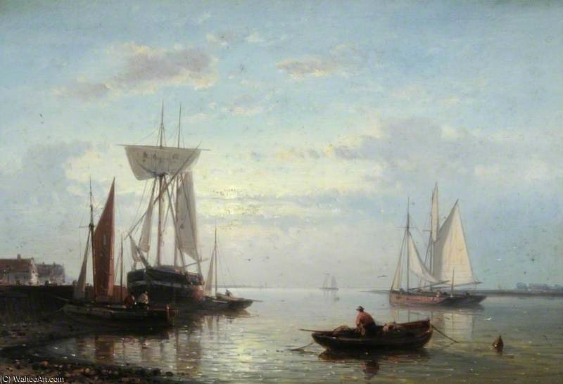 Coastal Scene With Beached Vessels, Evening by Abraham Hulk Senior  (order Fine Art fine art print Abraham Hulk Senior)