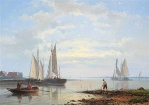 Order Museum Quality Reproductions : Coastal Scene by Abraham Hulk Senior (1813-1897, Netherlands) | WahooArt.com
