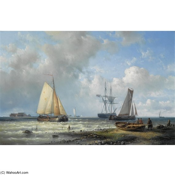 Dutch Barges In A Calm by Abraham Hulk Senior (1813-1897, Netherlands)