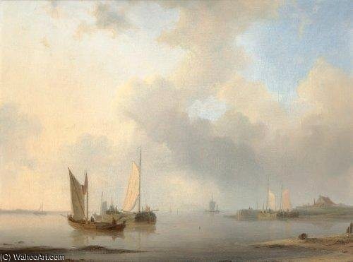 Dutch Barges In Calm Waters by Abraham Hulk Senior (1813-1897, Netherlands) | Museum Quality Reproductions | WahooArt.com