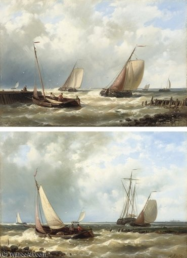 Dutch Fishing Boats In A Harbour Entrance by Abraham Hulk Senior (1813-1897, Netherlands)