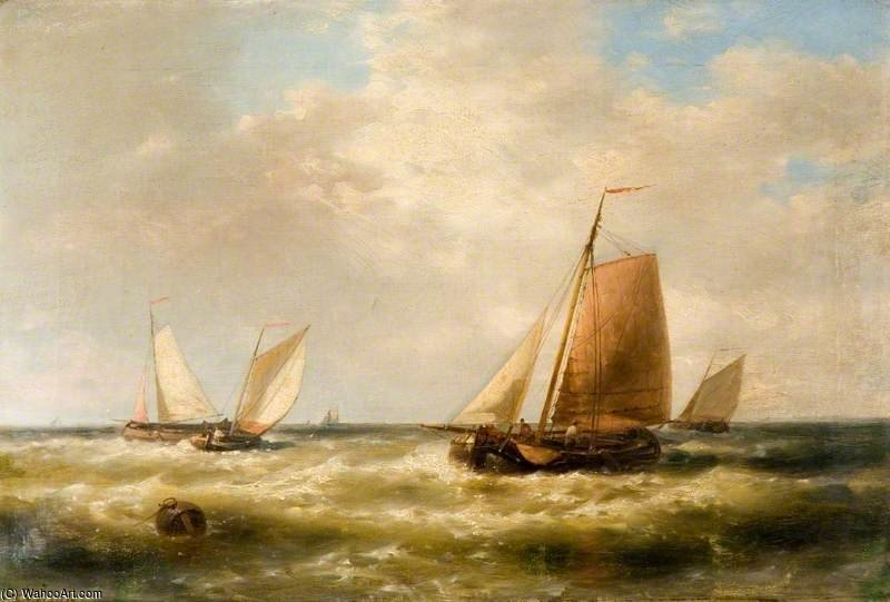 Dutch Fishing Boats by Abraham Hulk Senior (1813-1897, Netherlands) | Museum Quality Reproductions | WahooArt.com