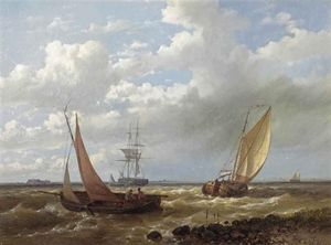Abraham Hulk Senior - Dutch Sailing Vessels In Choppy Waters