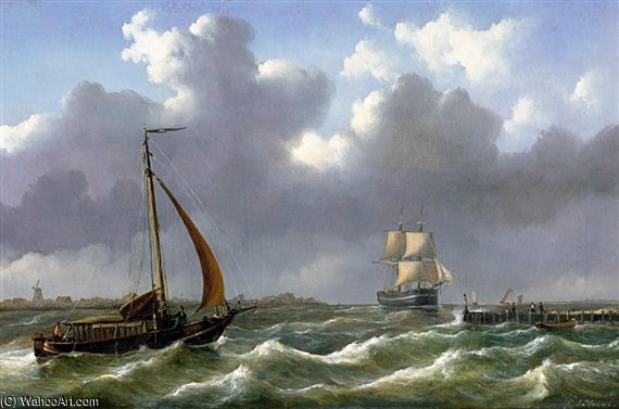 Dutch Ships Sailing In Rough Waters by Abraham Hulk Senior (1813-1897, Netherlands)