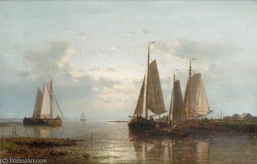 Evening On The Coast by Abraham Hulk Senior (1813-1897, Netherlands) | Painting Copy | WahooArt.com