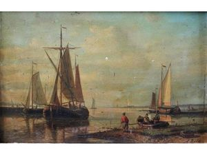 Abraham Hulk Senior - Figures And Boats By An Estuary