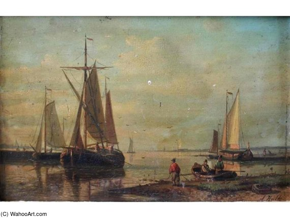 Figures And Boats By An Estuary by Abraham Hulk Senior (1813-1897, Netherlands) | Famous Paintings Reproductions | WahooArt.com