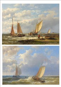 Abraham Hulk Senior - Figures And Fishing Boats In A Dutch Estuary