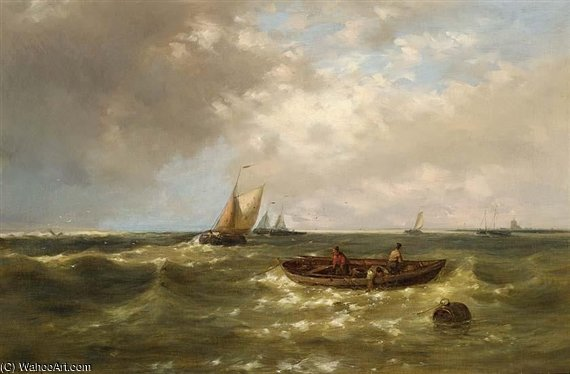 Fishermen Hauling In Their Nets On Choppy Seas by Abraham Hulk Senior (1813-1897, Netherlands)