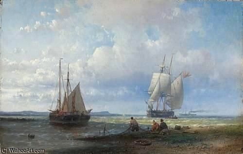 Fishermen Mending Their Nets by Abraham Hulk Senior (1813-1897, Netherlands)