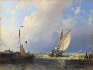 Abraham Hulk Senior - Fishermen Off To Sea By The Dutch Coast