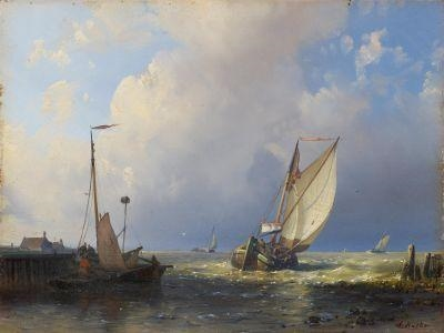 Fishermen Off To Sea By The Dutch Coast by Abraham Hulk Senior (1813-1897, Netherlands)