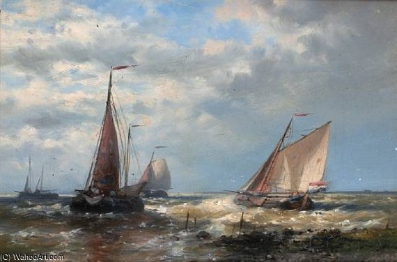 Fishing Boats At Sea by Abraham Hulk Senior (1813-1897, Netherlands)