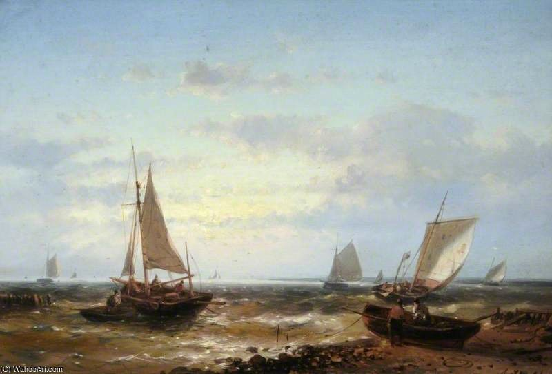 Fishing Boats In A Fresh Breeze, Evening by Abraham Hulk Senior (1813-1897, Netherlands)