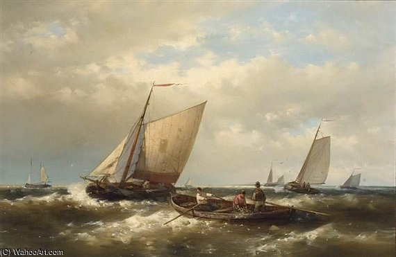 Fishing Boats In Choppy Seas by Abraham Hulk Senior (1813-1897, Netherlands) | WahooArt.com