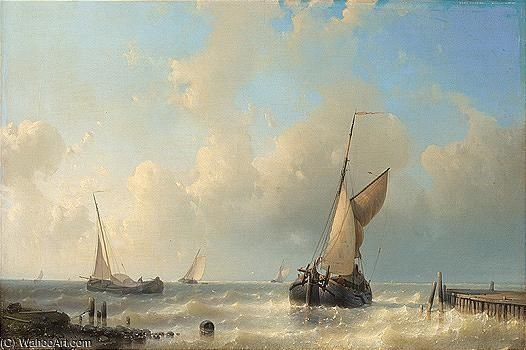 Fishing Boats In Choppy Waters by Abraham Hulk Senior (1813-1897, Netherlands) | Museum Quality Reproductions | WahooArt.com