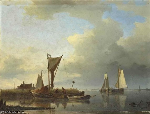 Fishing Boats On A Quiet Estuary by Abraham Hulk Senior (1813-1897, Netherlands) | Famous Paintings Reproductions | WahooArt.com