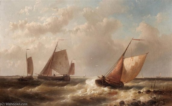 Fishing Smacks Off The Coast by Abraham Hulk Senior (1813-1897, Netherlands)