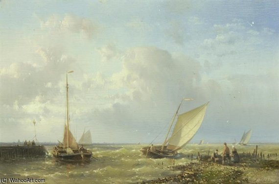 Fishing Vessels In Choppy Waters by Abraham Hulk Senior (1813-1897, Netherlands)