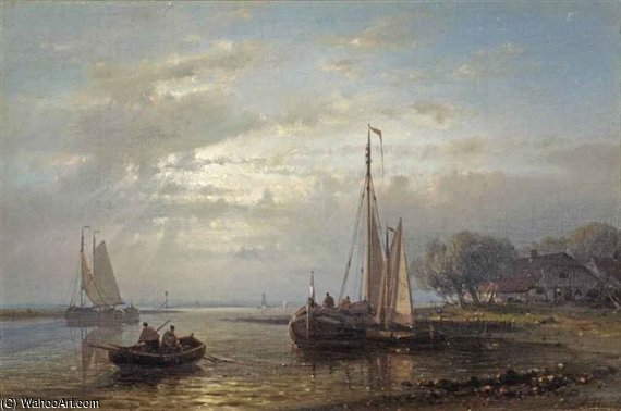 Fishing Vessels On A River At Dusk by Abraham Hulk Senior (1813-1897, Netherlands)