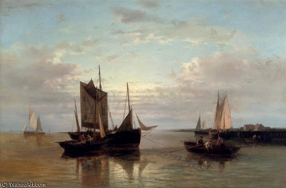 Hauling In The Nets by Abraham Hulk Senior (1813-1897, Netherlands) | Art Reproduction | WahooArt.com