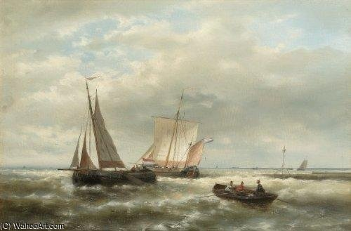 Heading Out To Sea by Abraham Hulk Senior (1813-1897, Netherlands)
