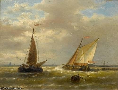Order Famous Paintings Reproductions : In Choppy Waters by Abraham Hulk Senior (1813-1897, Netherlands) | WahooArt.com
