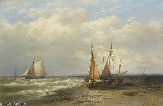 Low Tide by Abraham Hulk Senior (1813-1897, Netherlands) | Museum Quality Reproductions | WahooArt.com