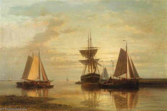 Moored Fishing Boats And A Clipper At Sunset by Abraham Hulk Senior (1813-1897, Netherlands)