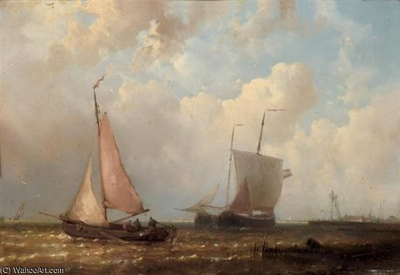 On A Calm by Abraham Hulk Senior (1813-1897, Netherlands) | Oil Painting | WahooArt.com