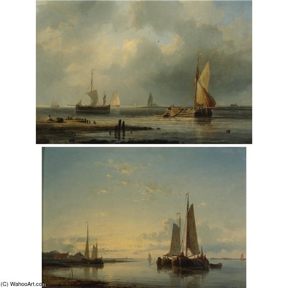 Sailboats In Harbor by Abraham Hulk Senior (1813-1897, Netherlands)