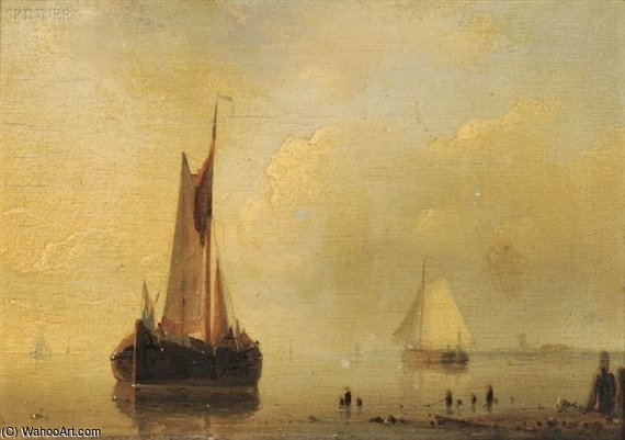 Sailing Boats In A Calm And Sailing Boats Off The Coast In A Stiff Breeze by Abraham Hulk Senior (1813-1897, Netherlands)
