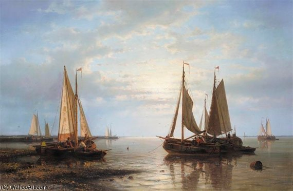 Sailing In Calm Waters by Abraham Hulk Senior (1813-1897, Netherlands)