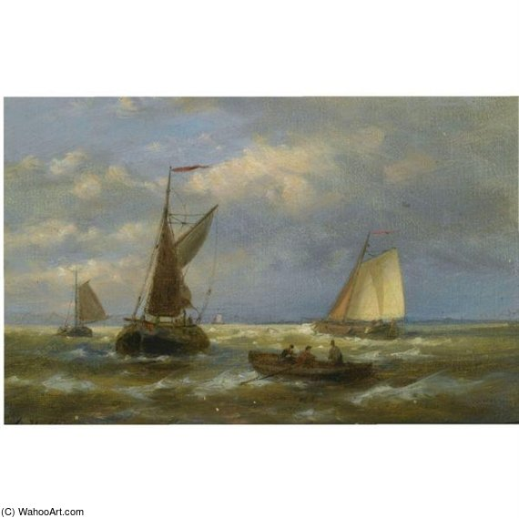 Sailing Vessels At Sea by Abraham Hulk Senior (1813-1897, Netherlands) | WahooArt.com