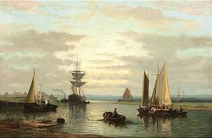 Abraham Hulk Senior - Sailing Vessels In A River