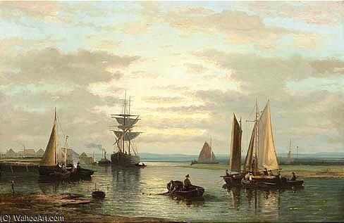 Sailing Vessels In A River by Abraham Hulk Senior (1813-1897, Netherlands) | WahooArt.com