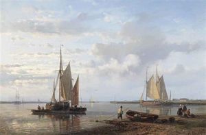 Abraham Hulk Senior - Sailing Vessels In A Tranquil Dutch Estuary