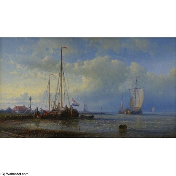 Seascape by Abraham Hulk Senior (1813-1897, Netherlands) | Painting Copy | WahooArt.com