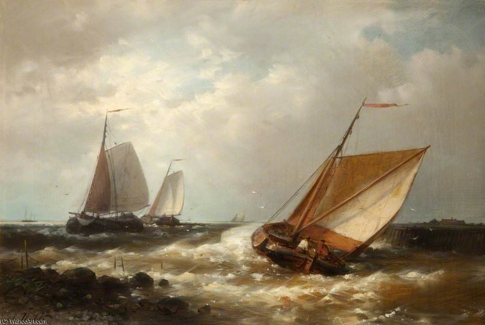 Shipping In A Breeze by Abraham Hulk Senior (1813-1897, Netherlands)