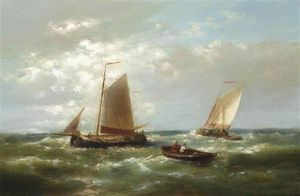 Abraham Hulk Senior - Shipping In A Stiff Breeze On The Scheldt