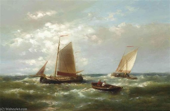 Shipping In A Stiff Breeze On The Scheldt by Abraham Hulk Senior (1813-1897, Netherlands) | Oil Painting | WahooArt.com