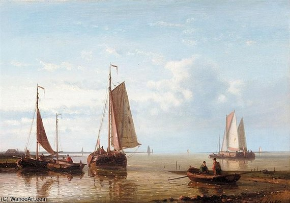 Shipping In An Estuary by Abraham Hulk Senior (1813-1897, Netherlands) | Museum Quality Reproductions | WahooArt.com