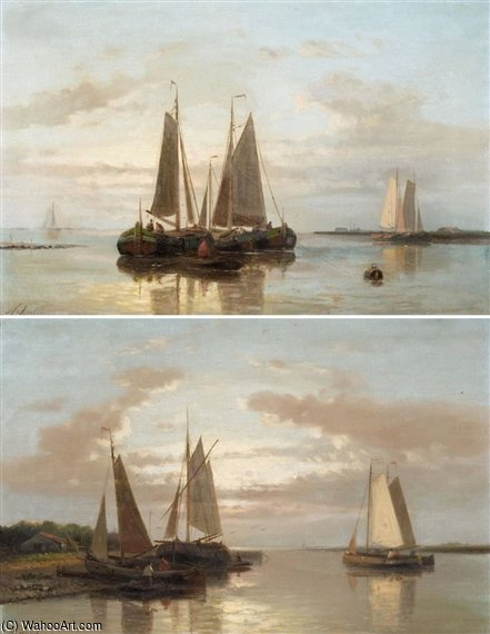 Shipping In Calm Waters by Abraham Hulk Senior (1813-1897, Netherlands) | Paintings Reproductions Abraham Hulk Senior | WahooArt.com