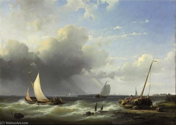 Shipping Off A Coast by Abraham Hulk Senior (1813-1897, Netherlands) | Famous Paintings Reproductions | WahooArt.com