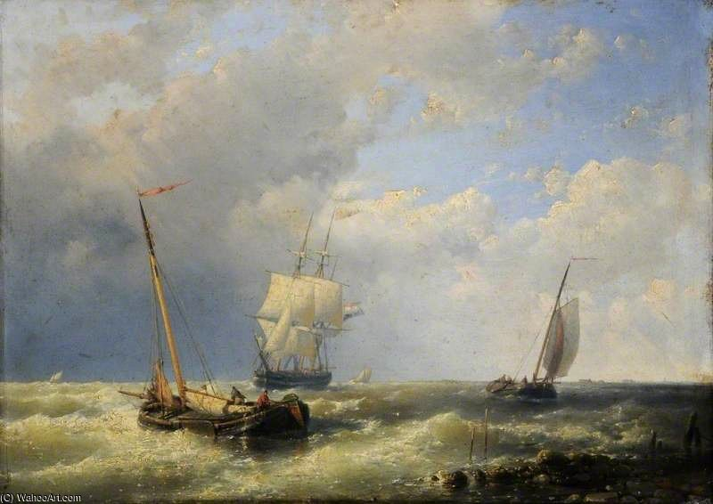 Shipping Off A Dutch Coast by Abraham Hulk Senior (1813-1897, Netherlands)