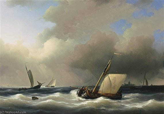 Shipping Off The Shore In High Winds by Abraham Hulk Senior (1813-1897, Netherlands) | Oil Painting | WahooArt.com