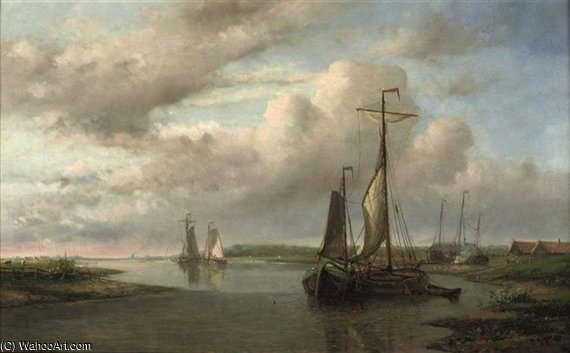Shipping On Calm Waters by Abraham Hulk Senior (1813-1897, Netherlands)