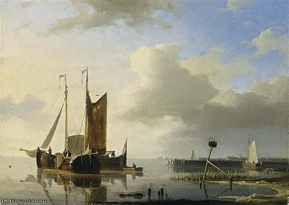 Ships At Anchor In A Calm by Abraham Hulk Senior (1813-1897, Netherlands)