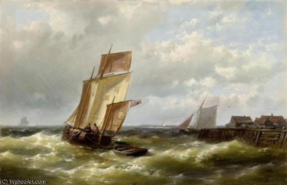 Ships Before The Dutch Coast by Abraham Hulk Senior (1813-1897, Netherlands)