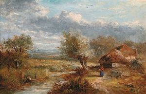 Abraham Hulk Senior - Summer Landscape With Farm Cottages By A Stream